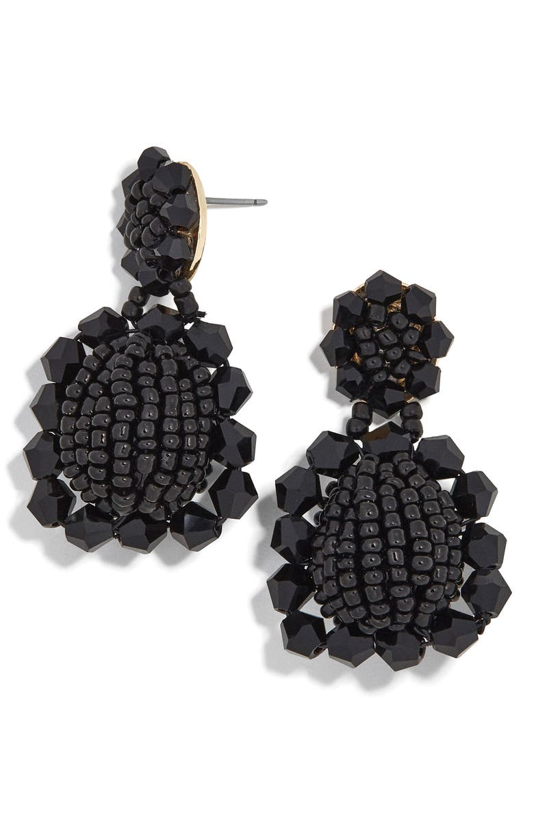 BAUBLEBAR Beaded Drop Earrings, Main, color, BLACK