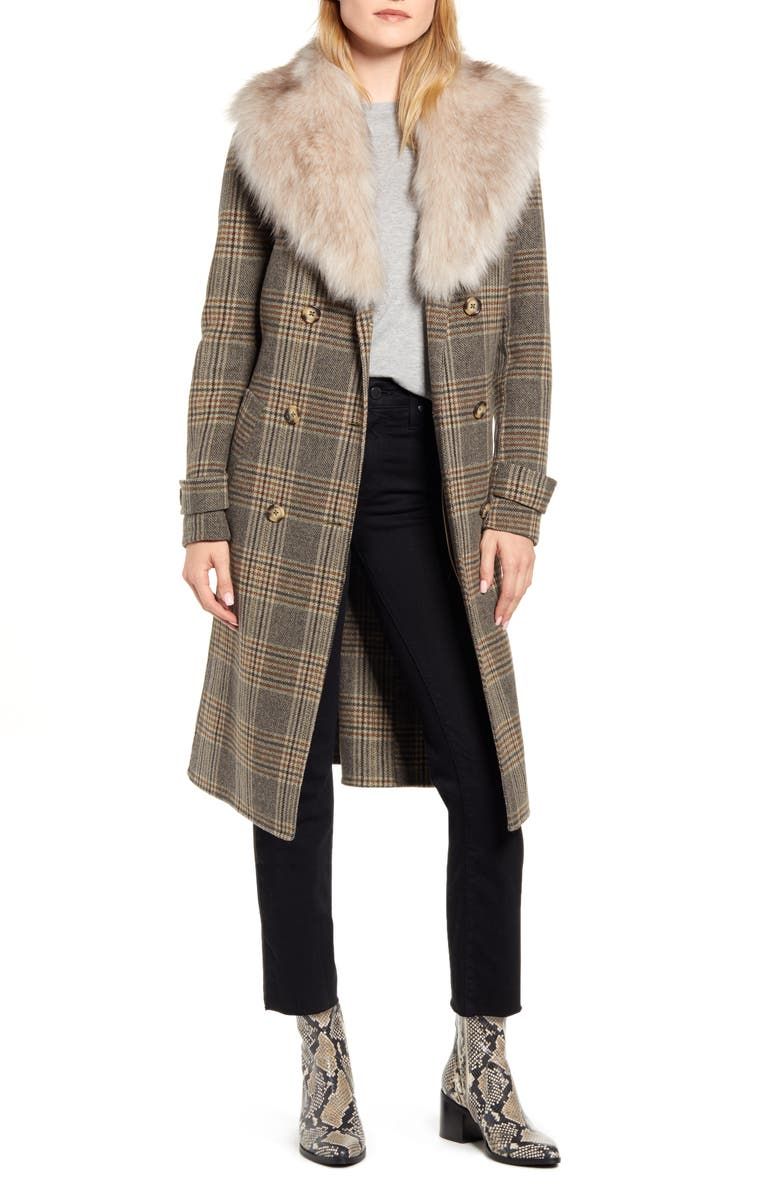 KENNETH COLE NEW YORK Plaid Wool Blend Coat with Removable Faux Fur Collar, Main, color, BROWN PLAID