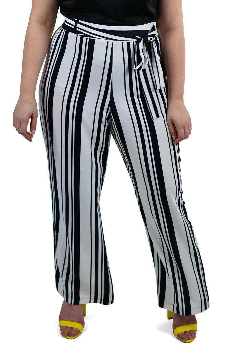 MARÉE POUR TOI Stripe Wide Leg Pants, Main, color, BLACK/ WHITE