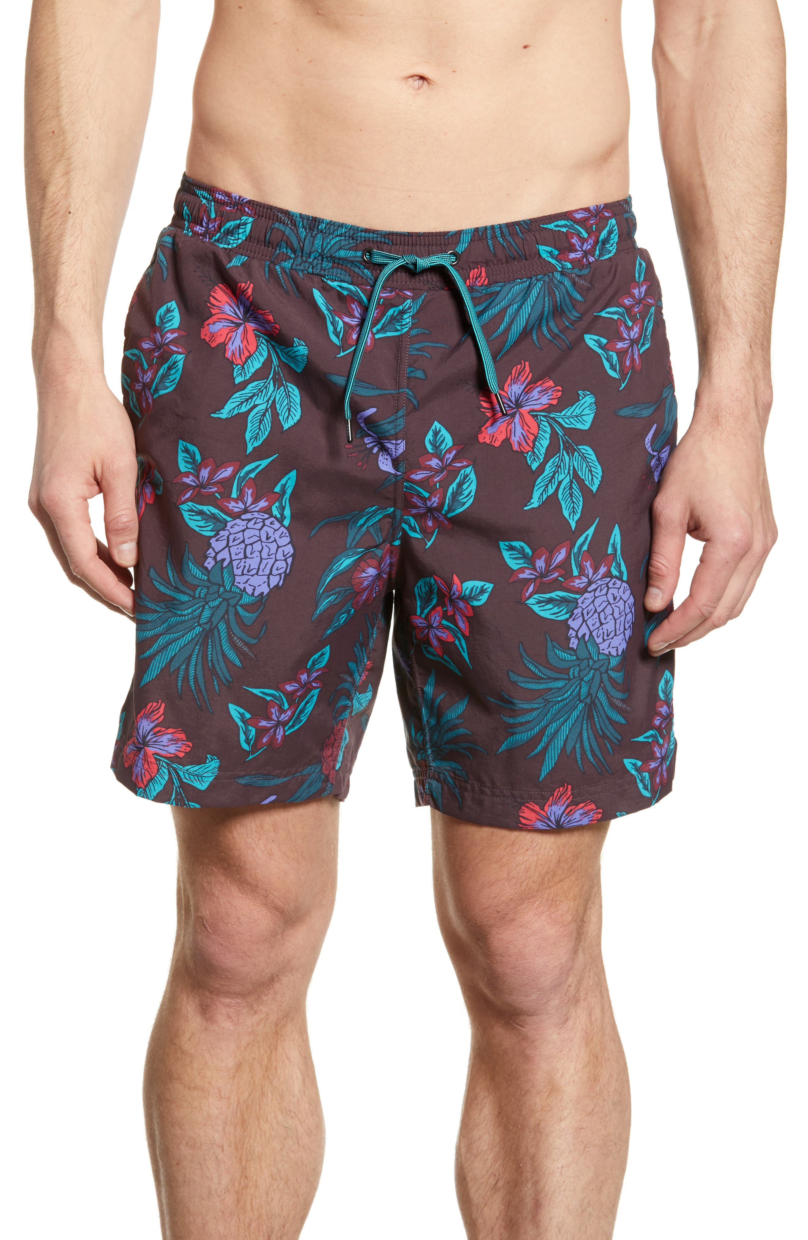 Pineapple Print Cannonball Swim Trunks, Main, color, RED PINEAPPLE PARTY