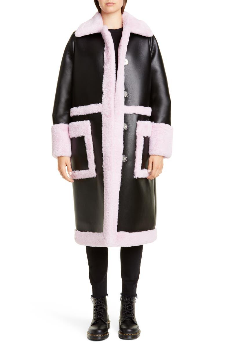 STAND STUDIO Riley Long Colorblock Faux Fur Coat, Main, color, BLACK/ LIGHT VIOLET