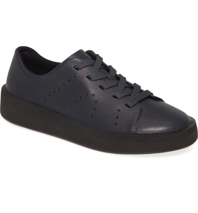 CAMPER Courb Perforated Low Top Sneaker, Main, color, DARK GREY LEATHER