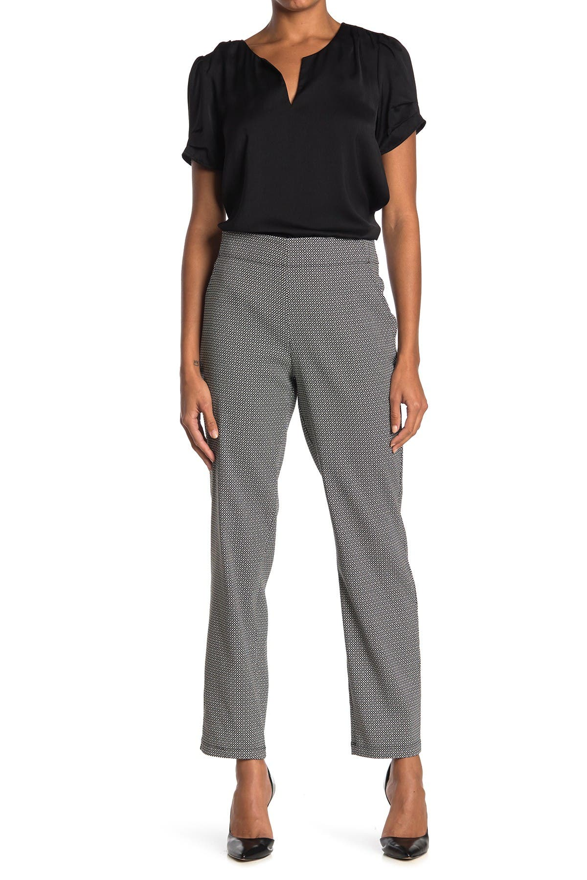 Image of Max Studio High Waist Pull-On Stretch Knit Pants