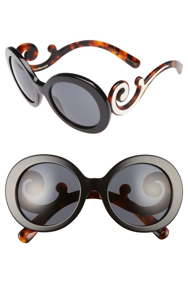 PRADA 55mm Round Sunglasses, Main, color, 001