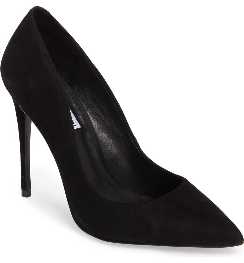 STEVE MADDEN Daisie Pointy-Toe Pump, Main, color, BLACK SUEDE