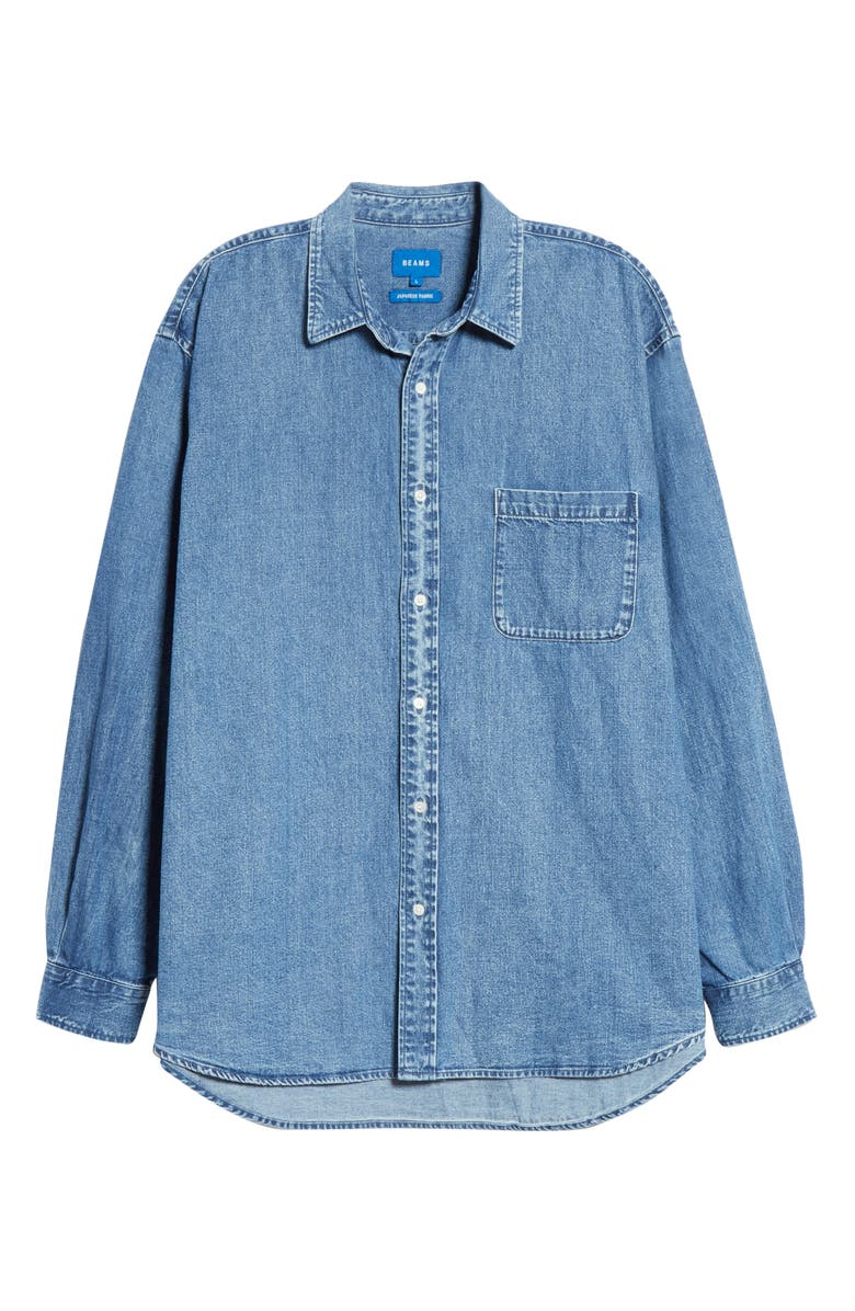 BEAMS Easy Denim Button-Up Shirt, Main, color, 400