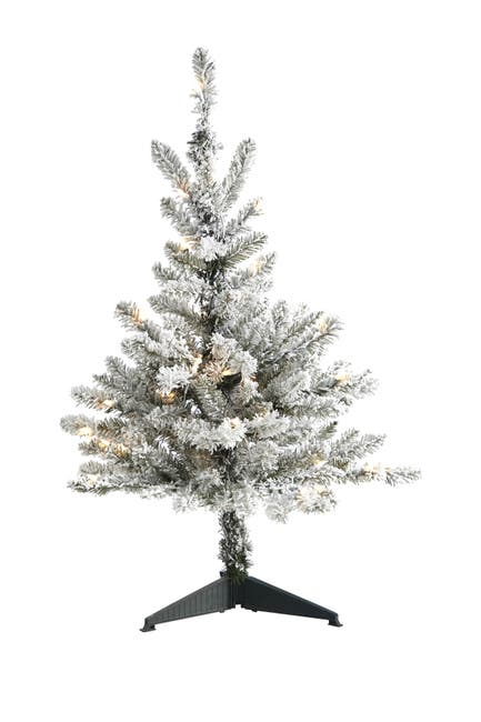 Image of NEARLY NATURAL 3ft. Flocked West Virginia Spruce Artificial Christmas Tree with 50 Clear Lights