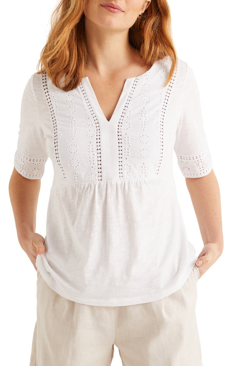 BODEN Margot Broderie Jersey Top, Main, color, WHITE