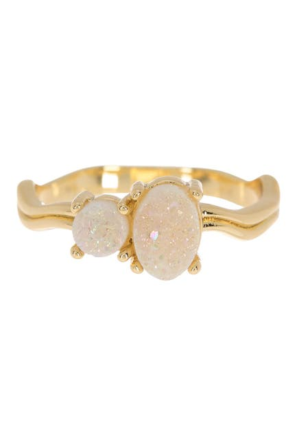 Image of Covet Wavy Band Oval Druzy Ring