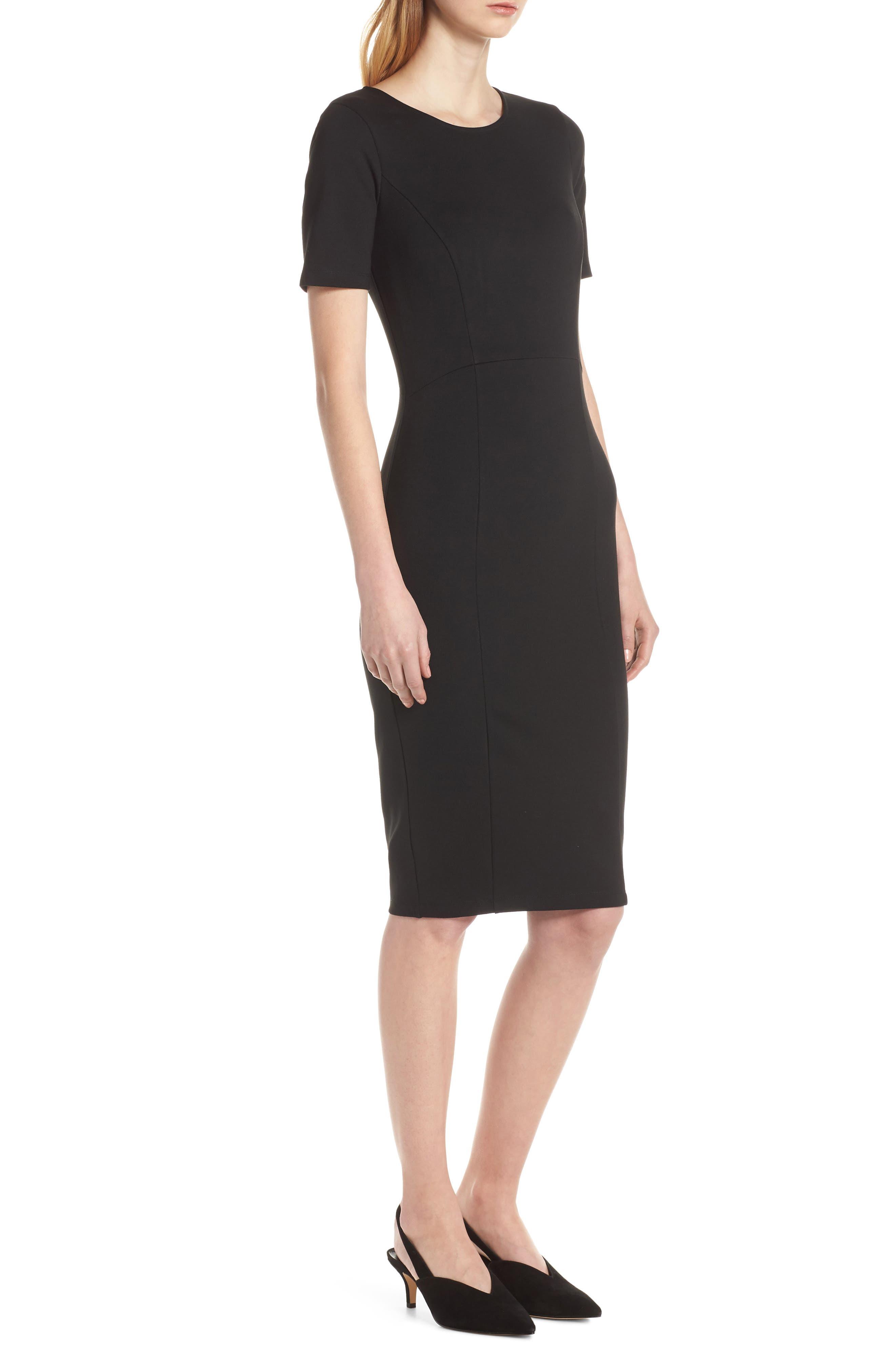 ,                             Zip Back Sheath Dress,                             Alternate thumbnail 5, color,                             BLACK