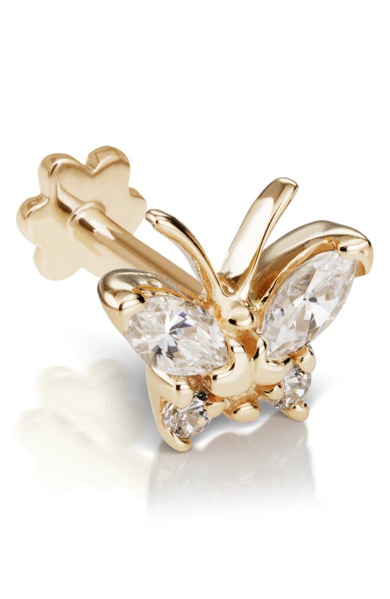 MARIA TASH Diamond Marquise Butterfly Threaded Stud Earring, Main, color, YELLOW GOLD/ DIAMOND