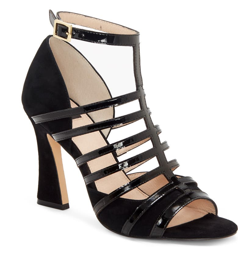 LOUISE ET CIE Isora Cage Sandal, Main, color, BLACK SUEDE