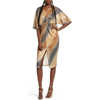 All In Favor Dolman Plisse Front Slit Dress, Metallic
