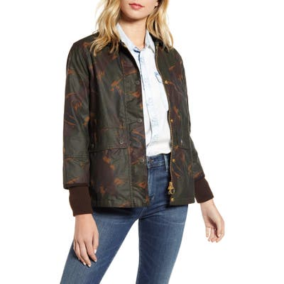 Barbour Feather Tawny Water Repellent Waxed Jacket, US / 14 UK - Green