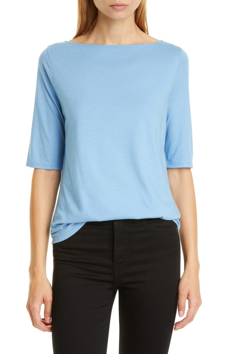 NORDSTROM SIGNATURE Boatneck Elbow Sleeve Tee, Main, color, BLUE LAKE