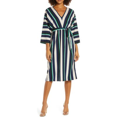 French Connection Multi Stripe V-Neck Dress, Blue/green