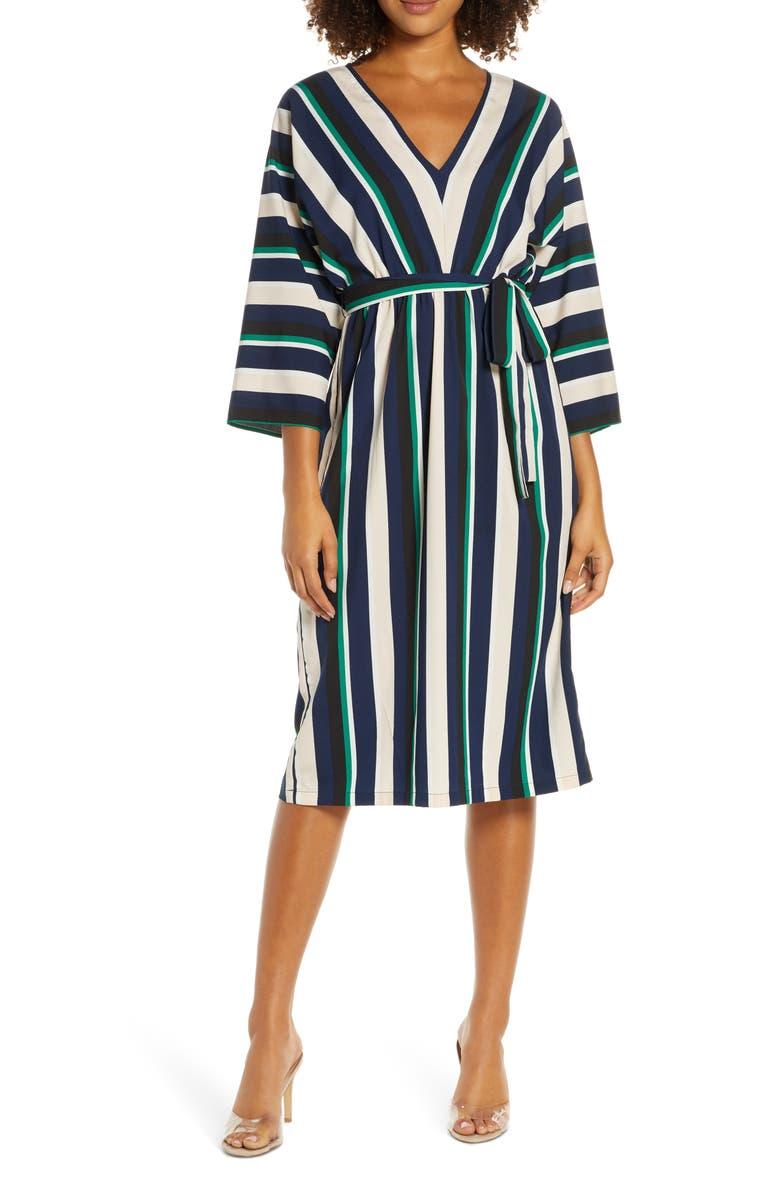 FRENCH CONNECTION Multi Stripe V-Neck Dress, Main, color, MULTI STRIPE