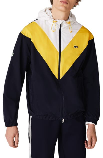 Lacoste Men's Lightweight Colorblock Hooded Jacket In Wasp Yellow