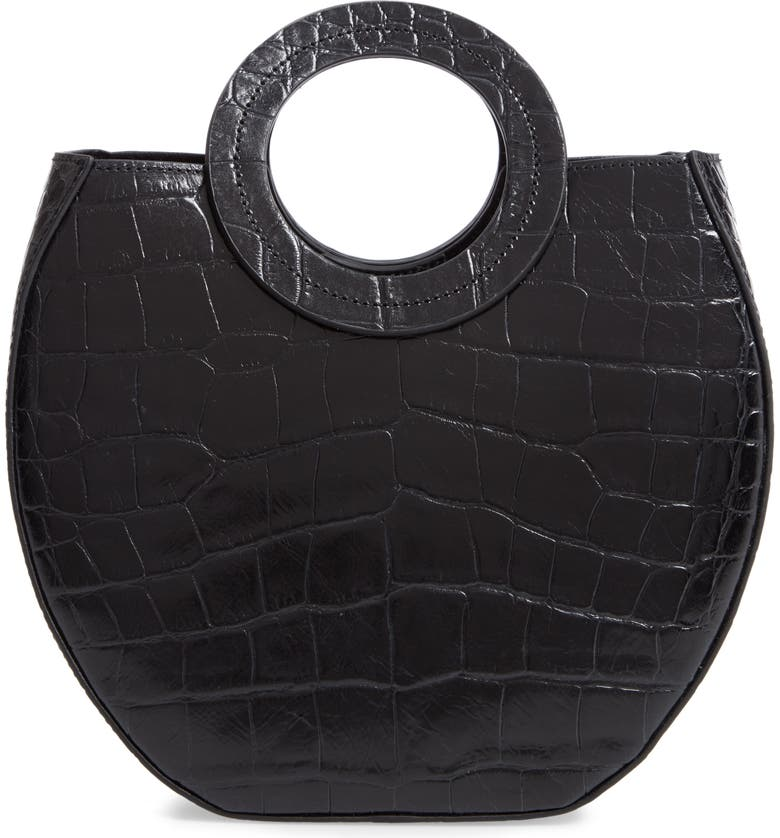 STAUD Frida Leather Handbag, Main, color, BLACK FAUX CROC