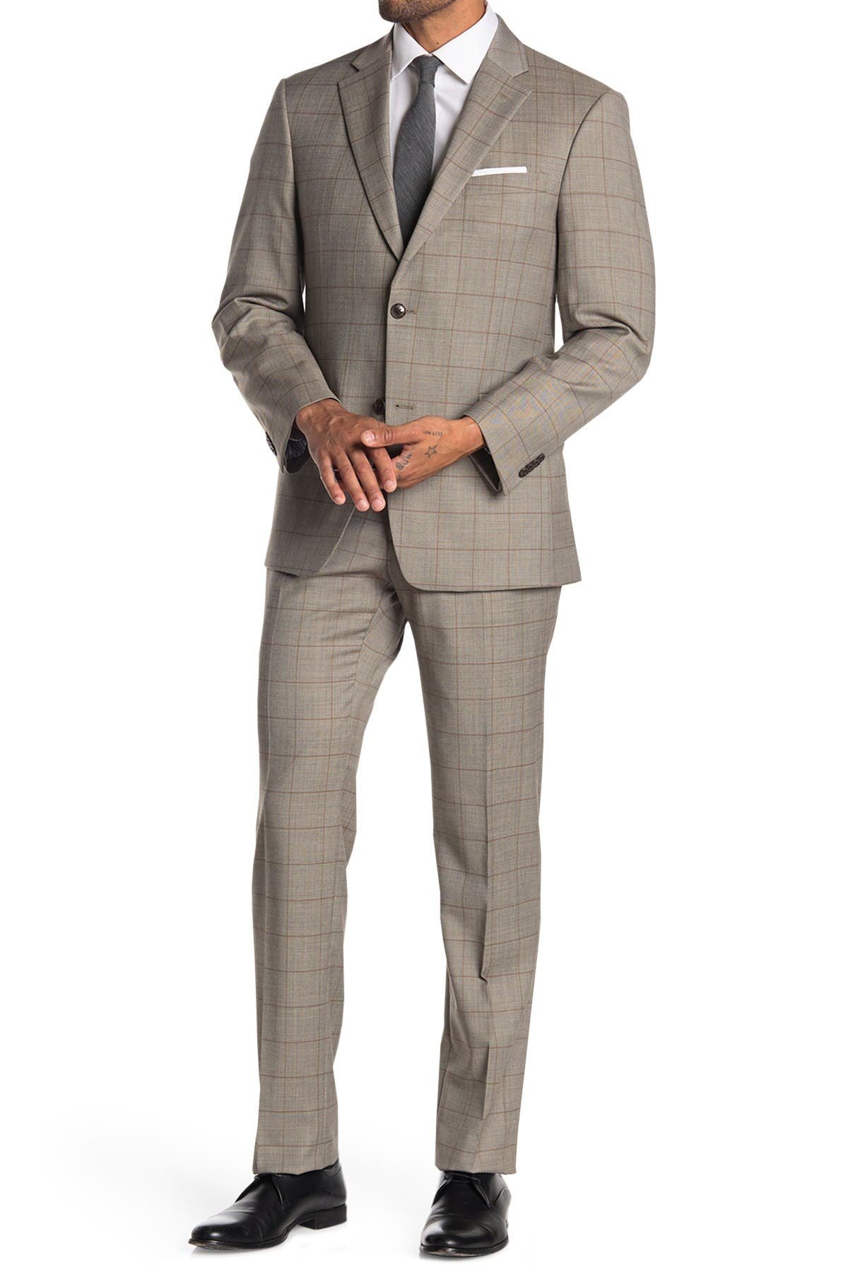 Image of Tommy Hilfiger Window Pane Two Button Notch Lapel Two Button Suit