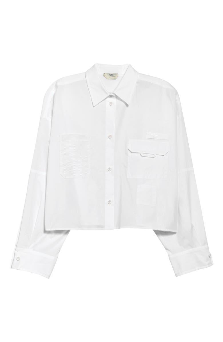 FENDI Pocket Poplin Button-Up Shirt, Main, color, WHITE
