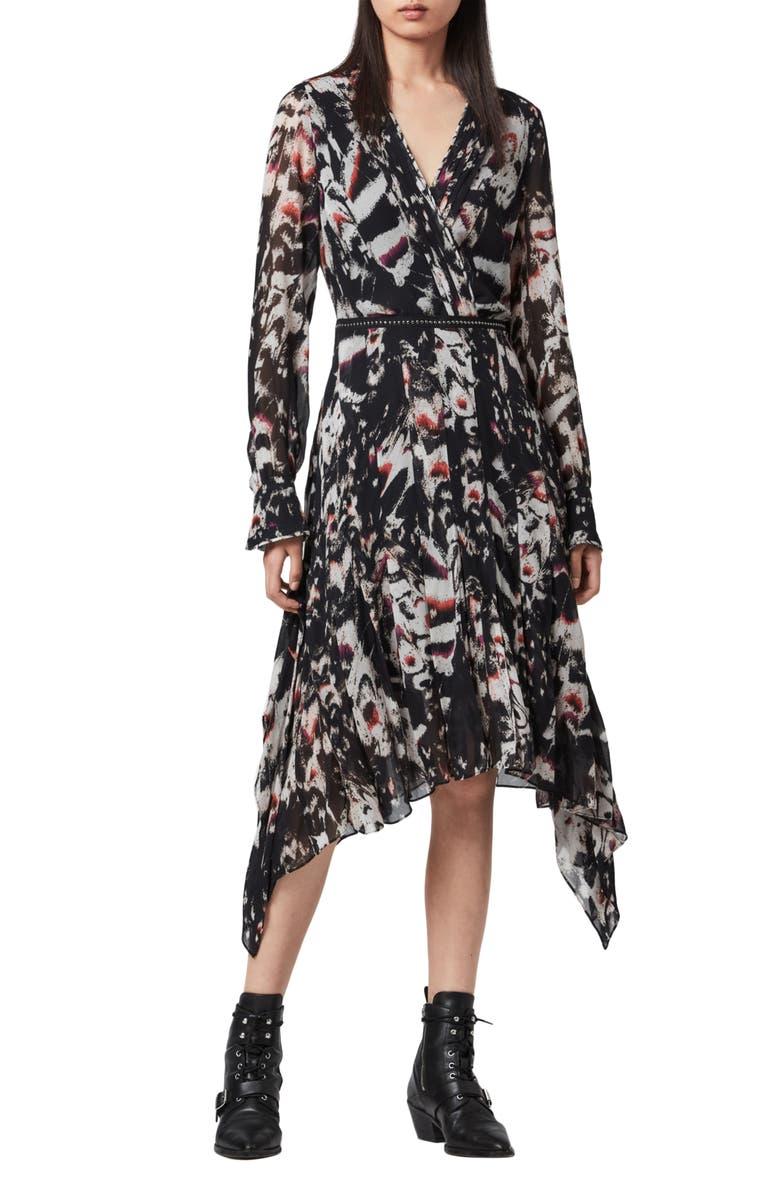 ALLSAINTS Lizia Wing Long Sleeve Handkerchief Hem Dress, Main, color, BLACK