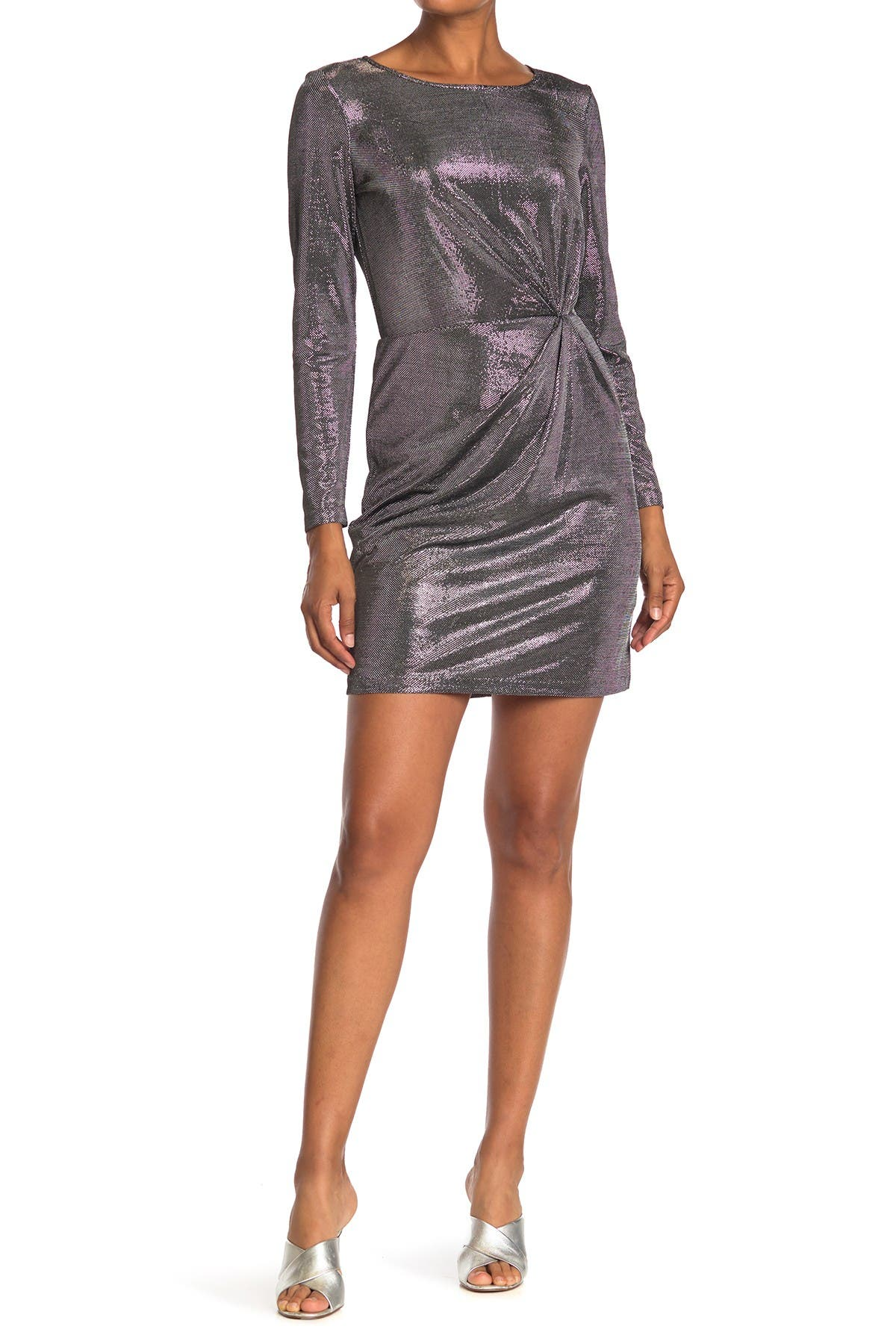 Image of BB Dakota What's Your Shine Metallic Mini Dress