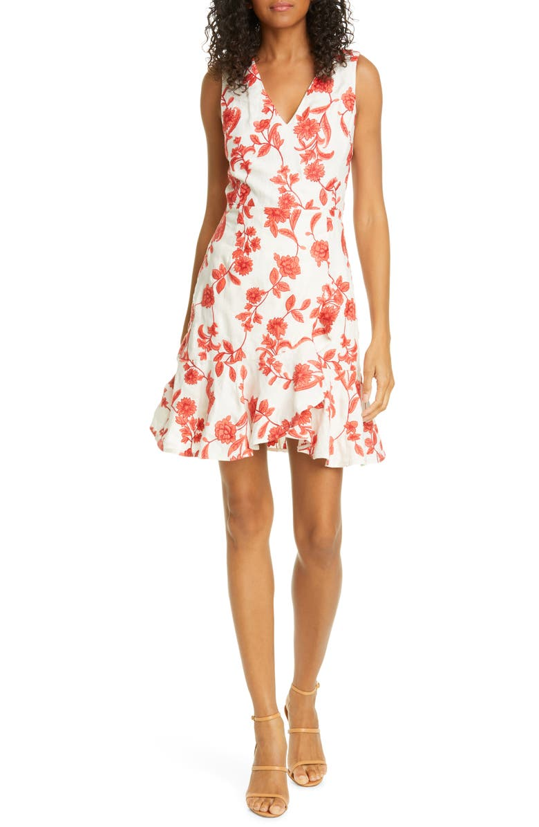 REBECCA TAYLOR Scarlet Floral Sleeveless Linen Dress, Main, color, 600