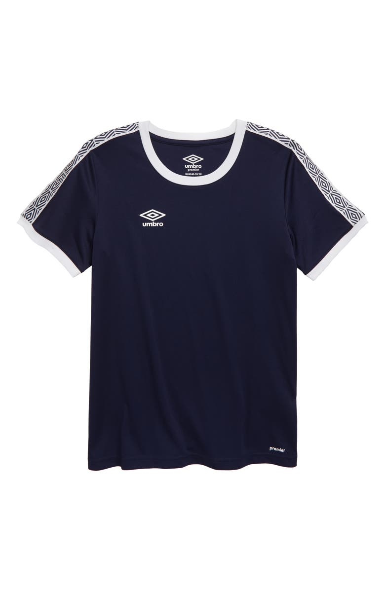 UMBRO Diamond Logo Tape T-Shirt, Main, color, NAVY/ WHITE