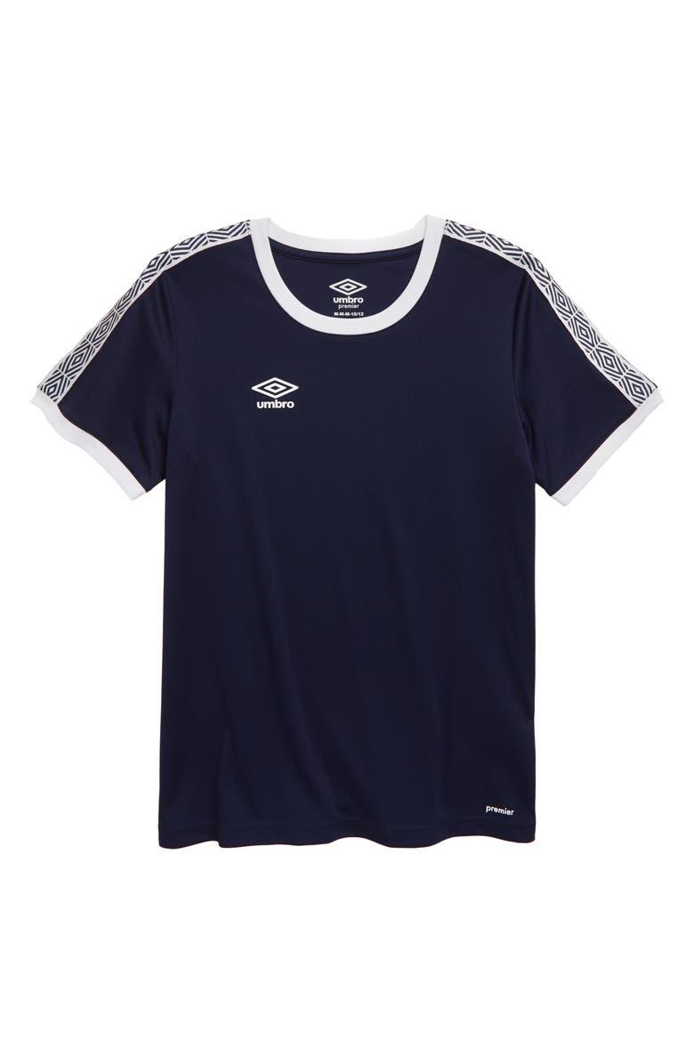UMBRO Diamond Logo Tape T-Shirt, Main, color, NAVY/ WHITE