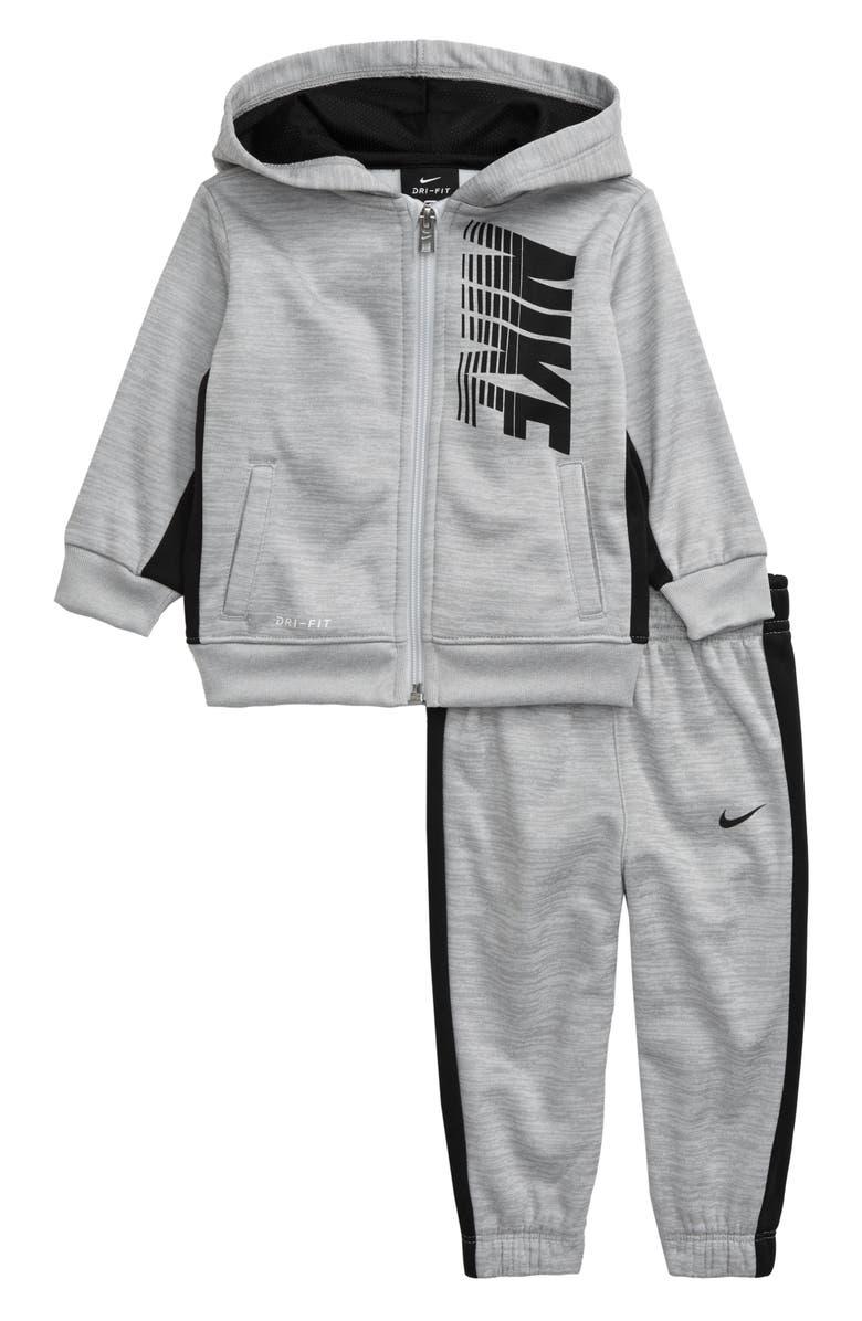 NIKE Dri-FIT Therma Block Full Zip Hoodie & Sweatpants Set, Main, color, PURE PLATINUM HEATHER