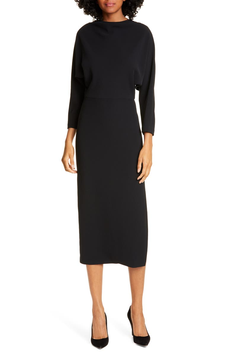 A.L.C. Naveen Dolman Long Sleeve Midi Dress, Main, color, BLACK