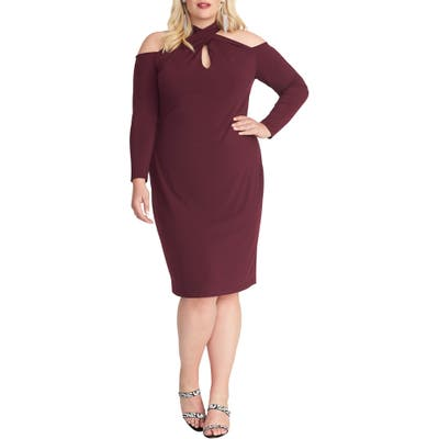 Plus Size Rachel Rachel Roy Simone Long Sleeve Cold Shoulder Jersey Dress, Burgundy