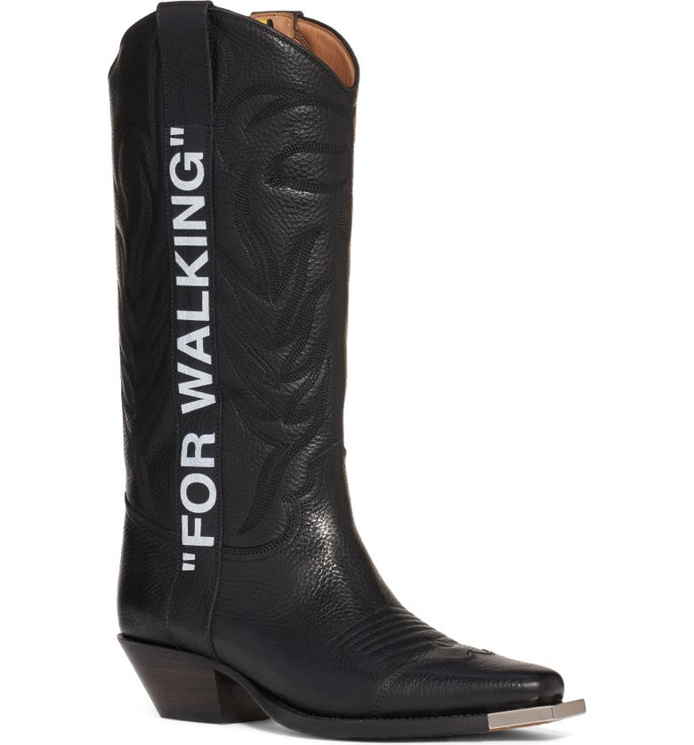 OFF-WHITE For Walking Leather Cowboy Boot, Main, color, BLACK WHITE