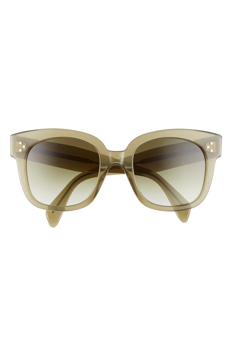 CELINE 54mm Square Sunglasses, Main, color, DARK GREEN/ GRADIENT GREEN
