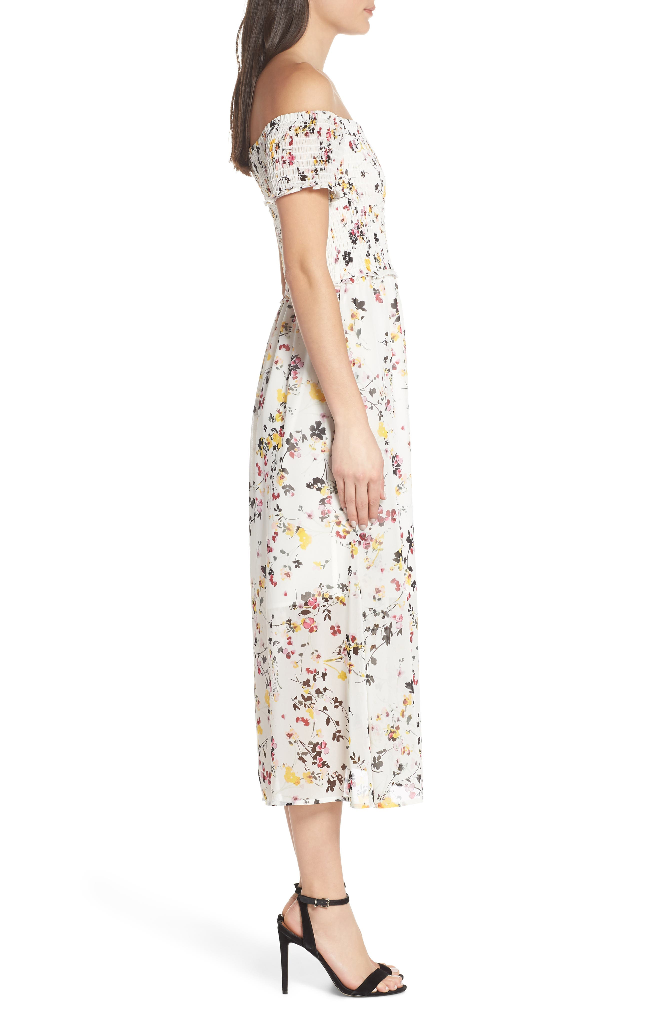,                             Floral Off the Shoulder Midi Dress,                             Alternate thumbnail 4, color,                             WHITE MULTI