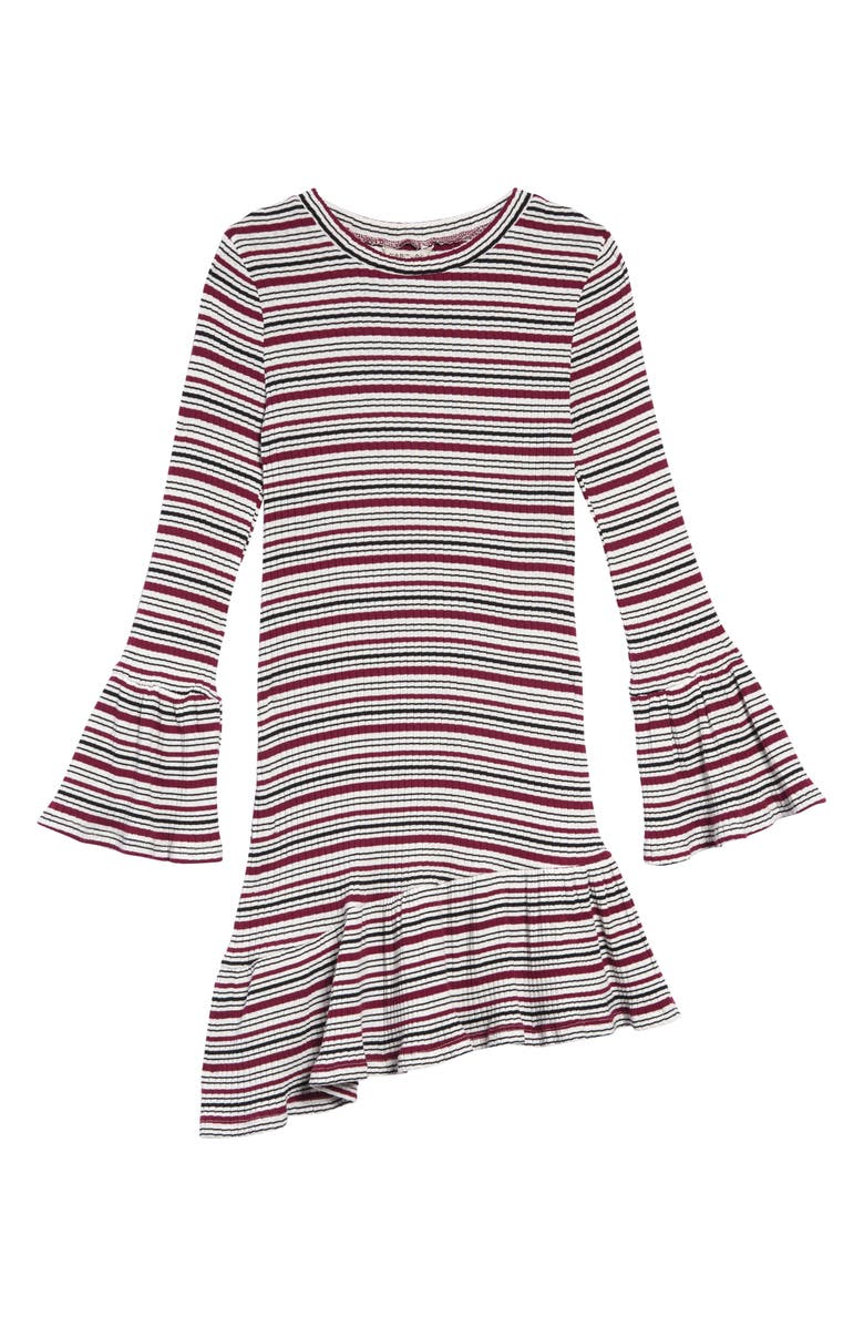 HABITUAL Blaire Stripe Ruffle Sweater Dress, Main, color, BURGUNDY MULTI