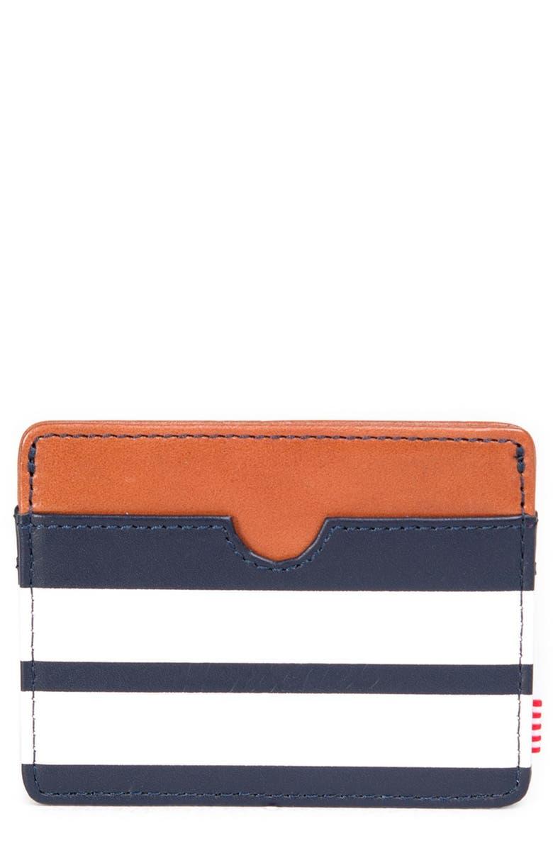 HERSCHEL SUPPLY CO. 'Charlie' Leather Card Holder, Main, color, 077