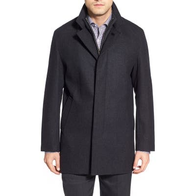 Cole Haan Wool Blend Topcoat With Inset Knit Bib, Metallic
