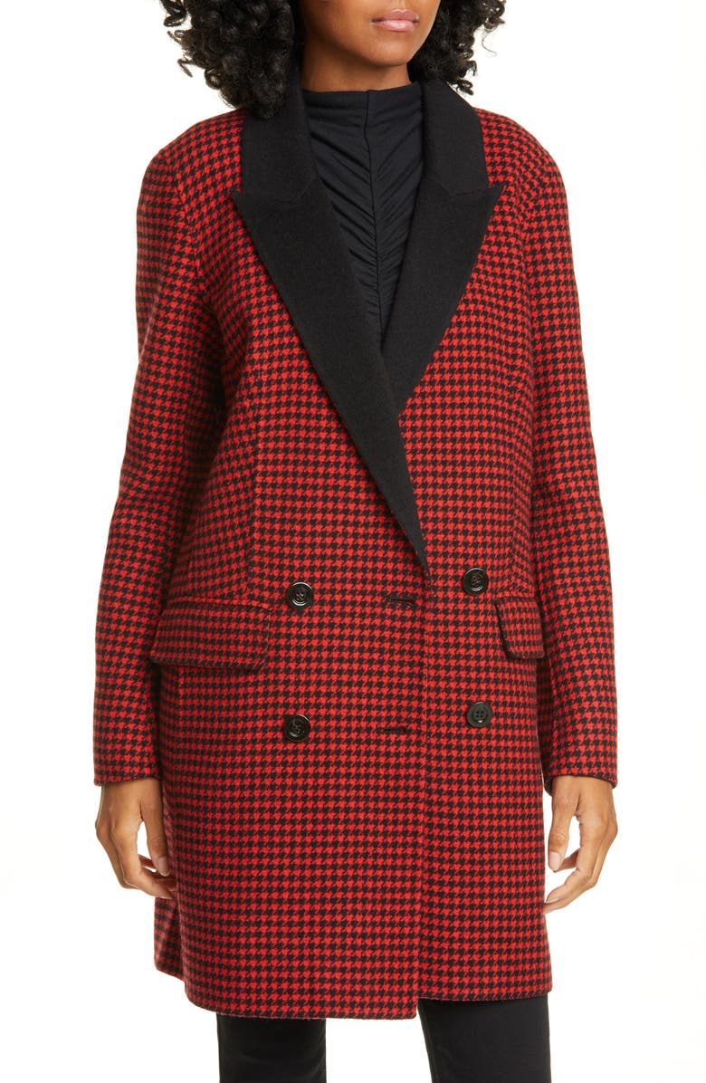 VERONICA BEARD Senna Houndstooth Wool & Cashmere Coat, Main, color, RED MULTI/ BLACK