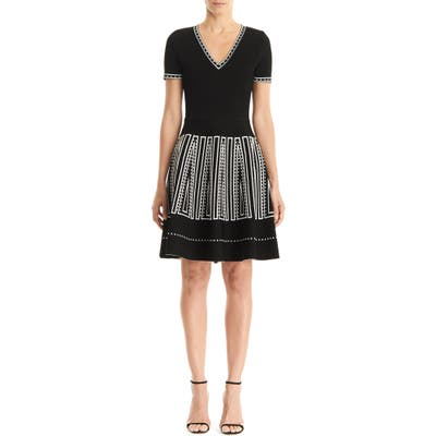 Carolina Herrera Jacquard Skirt Fit & Flare Sweater Dress, Black