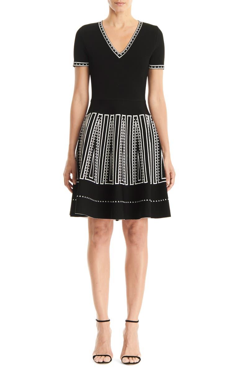 CAROLINA HERRERA Jacquard Fit & Flare Sweater Dress, Main, color, 001