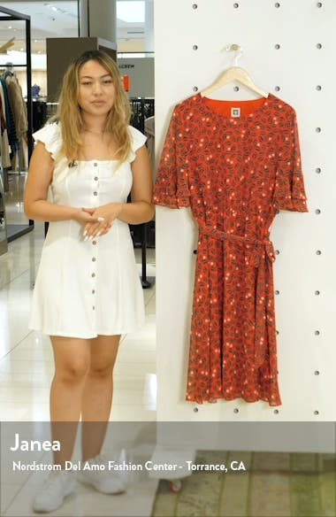 Tie Waist Ruffle Sleeve Dress, sales video thumbnail