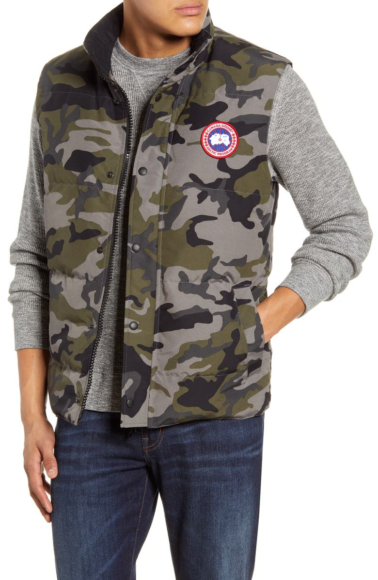 CANADA GOOSE Garson Trim Fit 625 Fill Power Down Vest, Main, color, CLASSIC CAMO COASTAL GREY