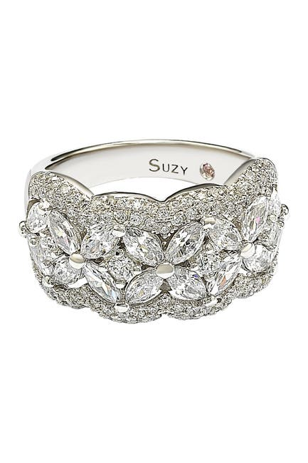 Image of Suzy Levian Sterling Silver Round-Cut & Marquise-Cut CZ Flower Ring