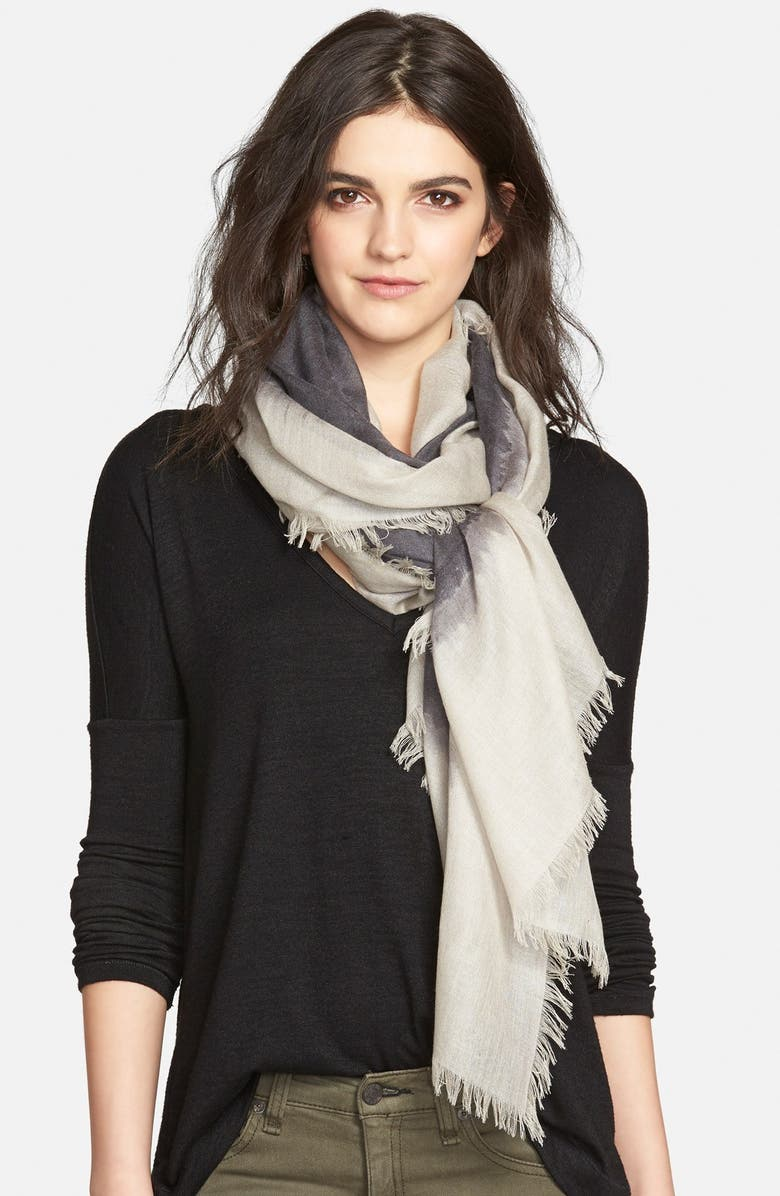 NORDSTROM 'Brushstroke Border' Cashmere & Silk Scarf, Main, color, 021