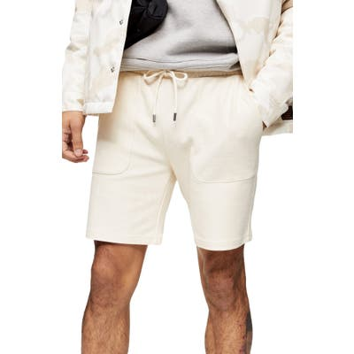 Topman Classic Fit Cotton Twill Shorts, Ivory