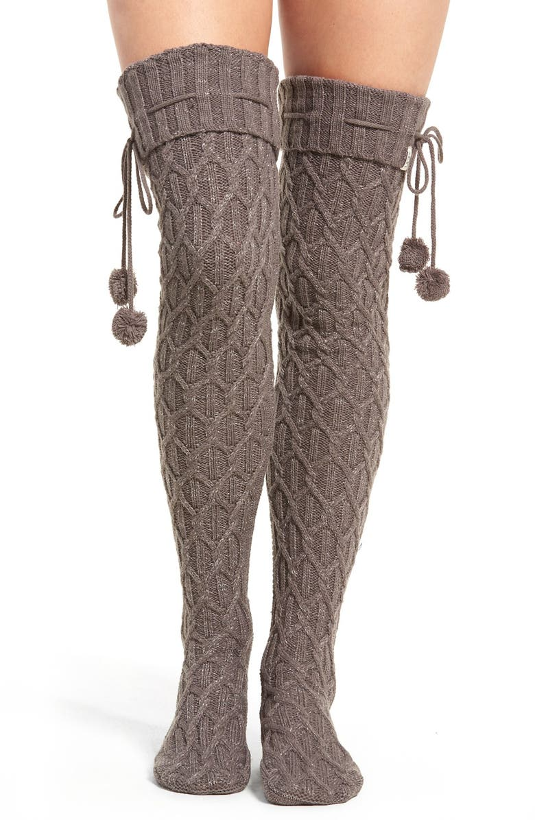UGG<SUP>®</SUP> Sparkle Cable Knit Socks, Main, color, 020