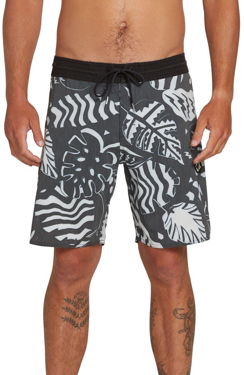 VOLCOM Scrap Stoney Board Shorts, Main, color, BLACK WHITE