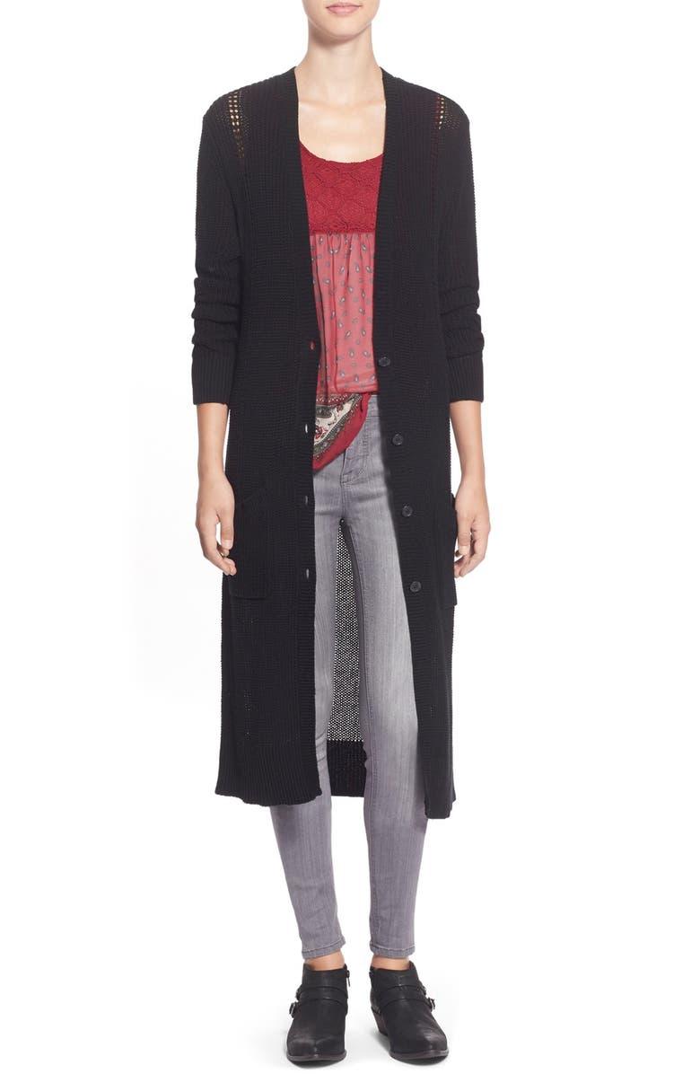 BP. Shaker Knit Duster Cardigan, Main, color, 001